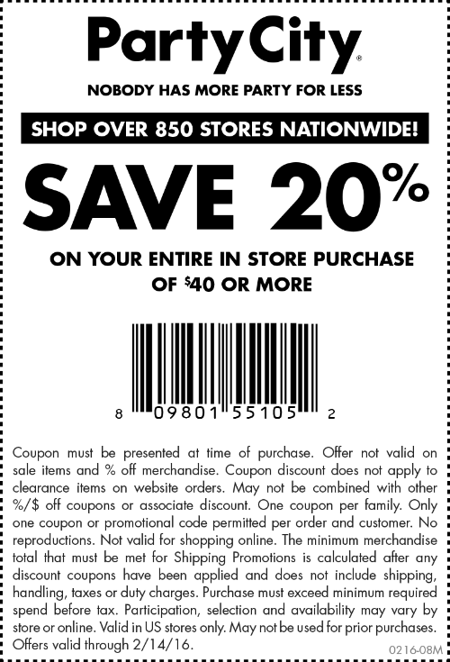 Party City Coupon February 2017 20% off $40 at Party City