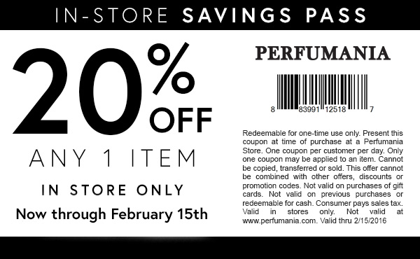 Perfumania Coupon November 2017 20% off a single item at Perfumania
