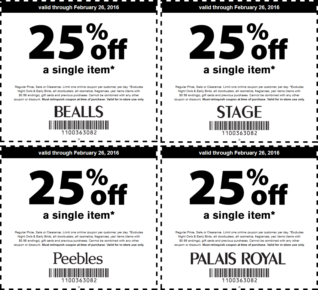 Bealls Coupon October 2016 25% off a single item at Bealls, Peebles, Palais Royal & Stage stores