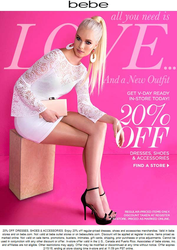 Bebe Coupon January 2017 20% off at bebe, ditto online