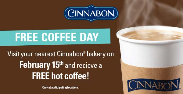 Cinnabon Coupon September 2017 Free coffee Monday at Cinnabon