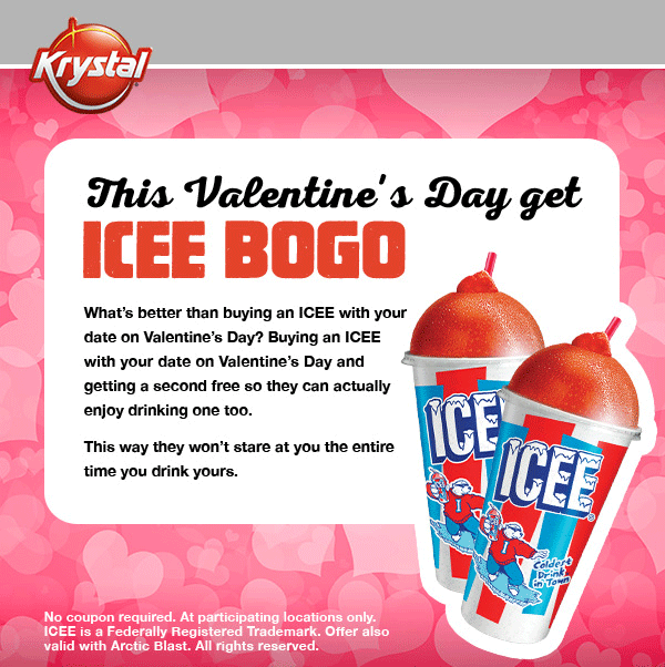 Krystal Coupon March 2017 Second icee free Sunday at Krystal restaurants