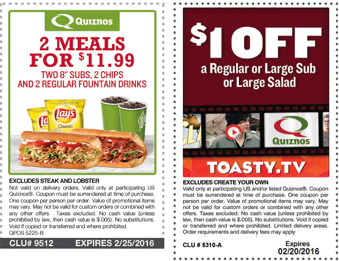 Quiznos Coupon December 2016 Two meals for $12 & more at Quiznos