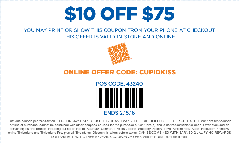 Rack Room Shoes Coupon January 2017 $10 off $75 at Rack Room Shoes, or online via promo code CUPIDKISS