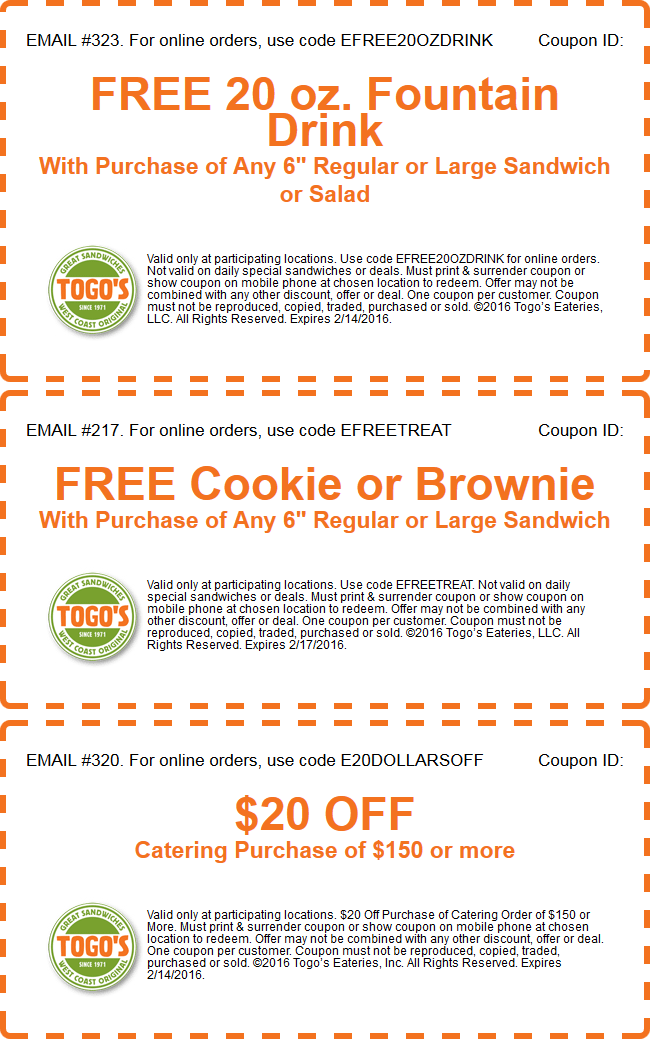 Togos Coupon September 2018 Free 20oz drink & more with your sandwich at Togos