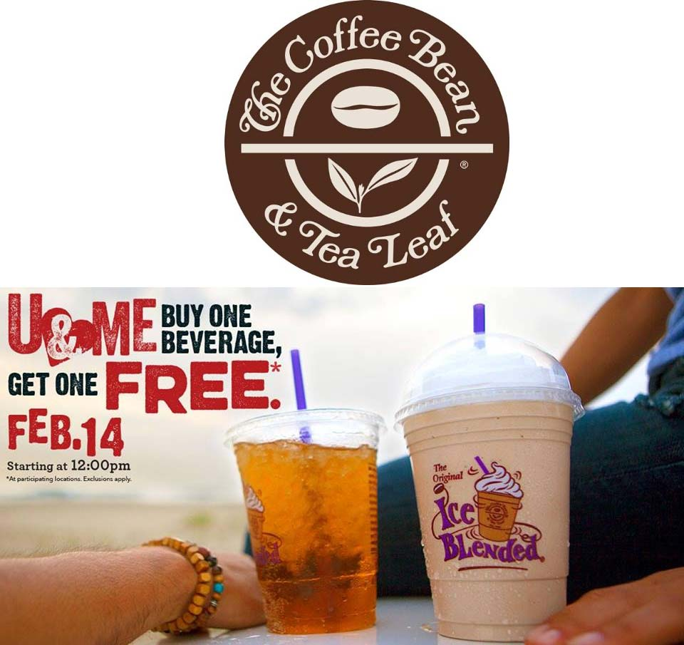 Coffee Bean & Tea Leaf Coupon January 2018 Second drink free today at the Coffee Bean & Tea Leaf