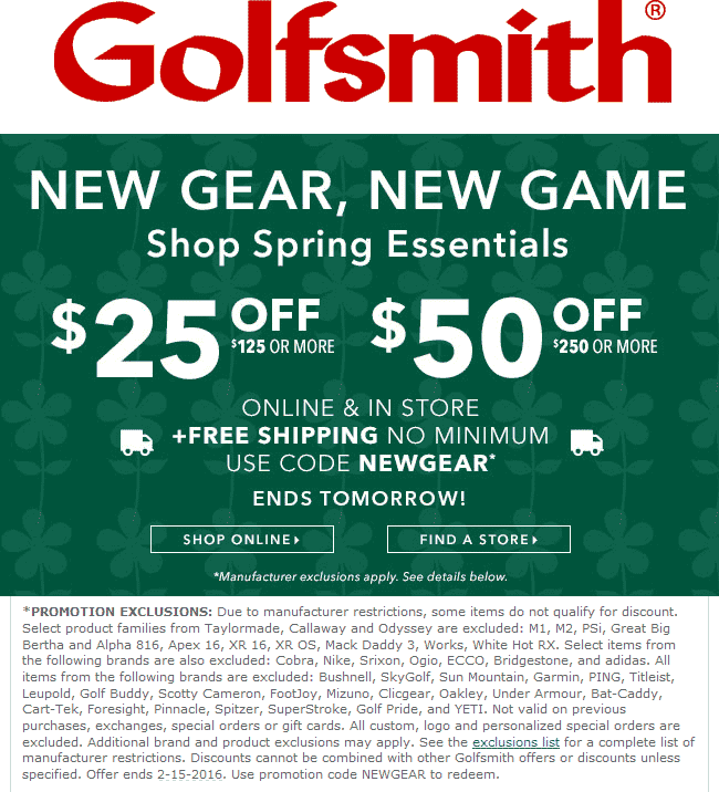 Golfsmith Coupon March 2018 $25 off $125 & more at Golfsmith, or online via promo code NEWGEAR