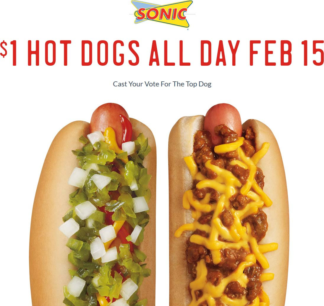 Sonic Drive-In Coupon March 2018 Hot dogs for a buck Monday at Sonic Drive-In