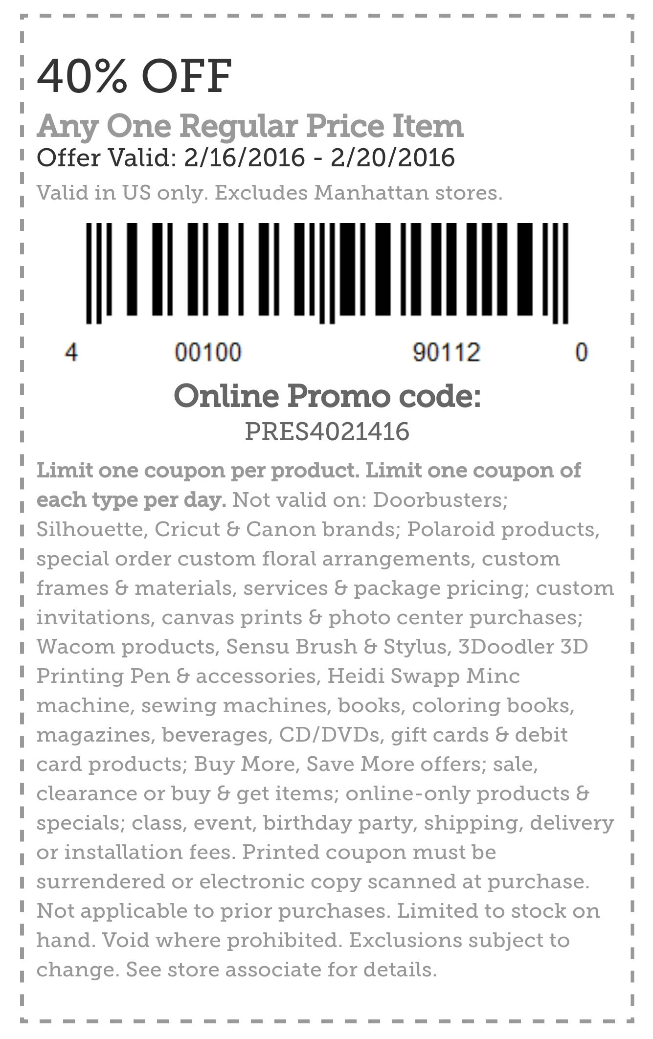 Michaels Coupon March 2017 40% off a single item at Michaels, or online via promo code PRES4021416