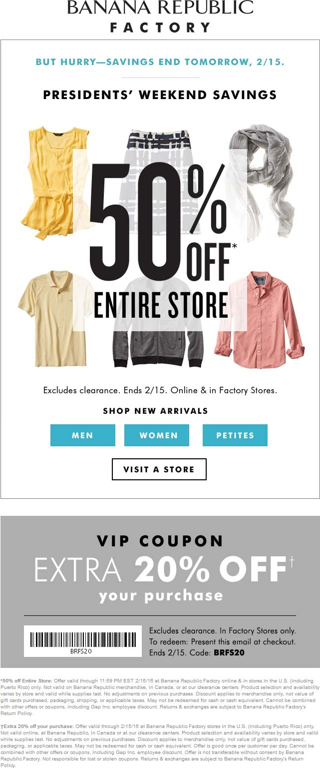 Banana Republic Factory Coupon February 2017 70% off everything today at Banana Republic Factory, or 50% online