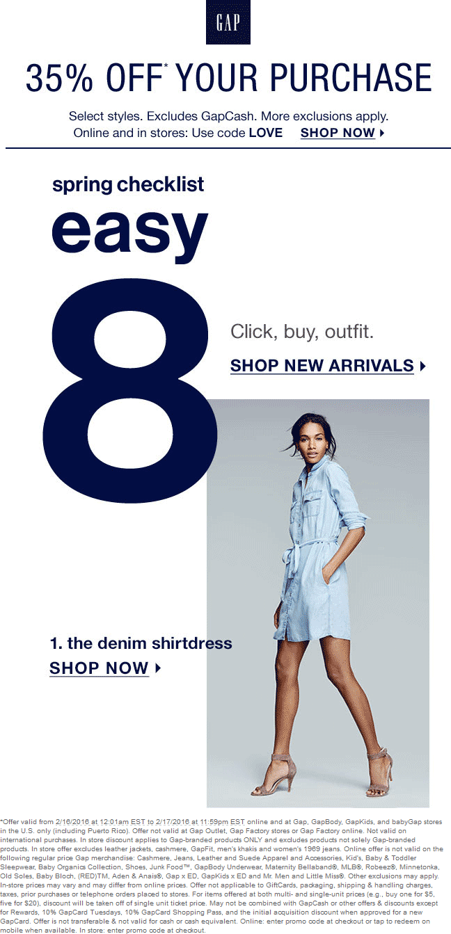 Gap Coupon January 2018 35% off at Gap, or online via promo code LOVE