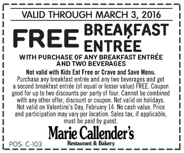 Marie Callenders Coupon February 2019 Second breakfast free at Marie Callenders restaurant & bakery