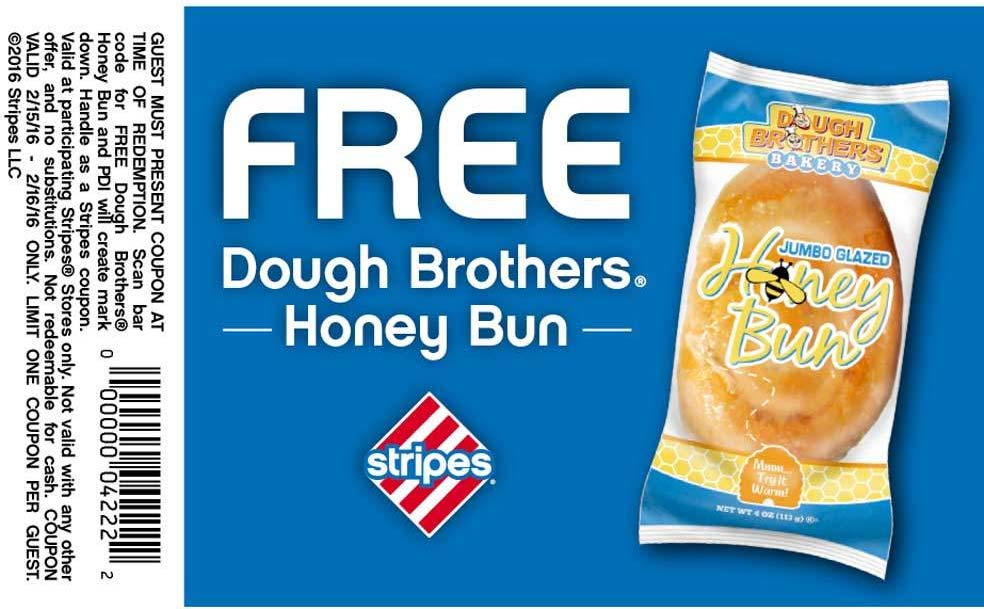 Stripes Coupon May 2017 Free honey bun at Stripes gas stations