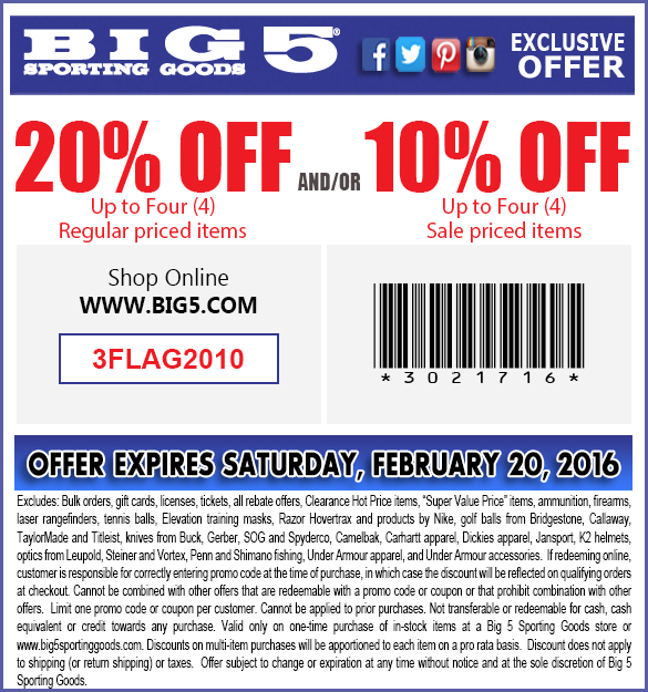 Big 5 Coupon December 2016 20% off at Big 5 sporting goods, or onine via promo code 3FLAG2010