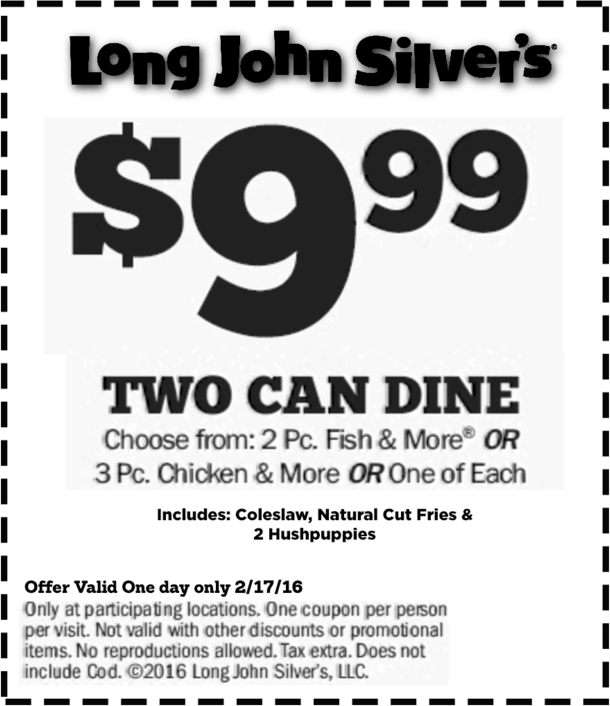 Long John Silvers Coupon April 2017 2 meals for $10 today at Long John Silvers