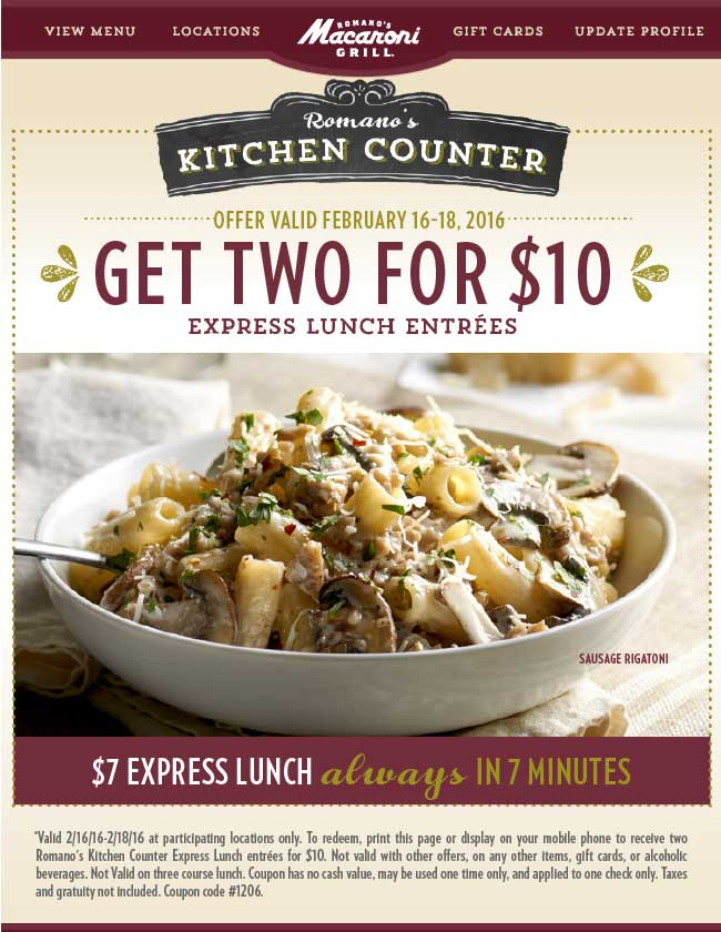 Macaroni Grill Coupon May 2018 Two lunches for $10 in 7 minutes at Macaroni Grill