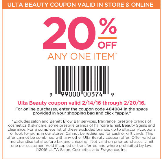 Ulta Coupon March 2018 20% off a single item at Ulta Beauty, or online via promo code 404084