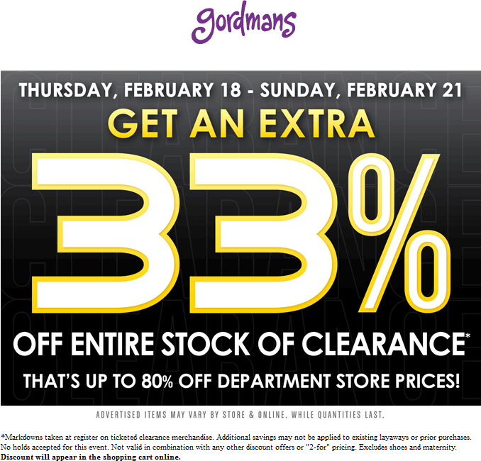 Gordmans Coupon May 2017 Extra 33% off clearance at Gordmans, ditto online