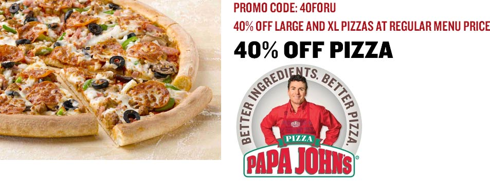 Papa Johns Coupon February 2019 40% off a L or XL pizza at Papa Johns via promo code 40FORU