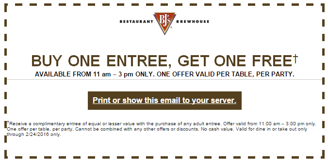 BJs Restaurant Coupon February 2017 Second lunch entree free at BJs Restaurant
