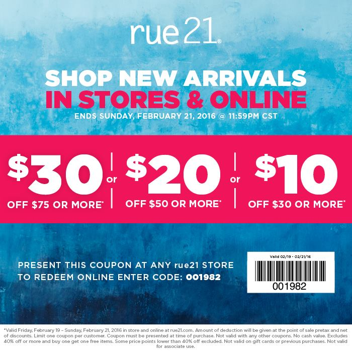 Rue21 Coupon March 2017 $10 off $30 & more at rue21, or online via promo code 001982
