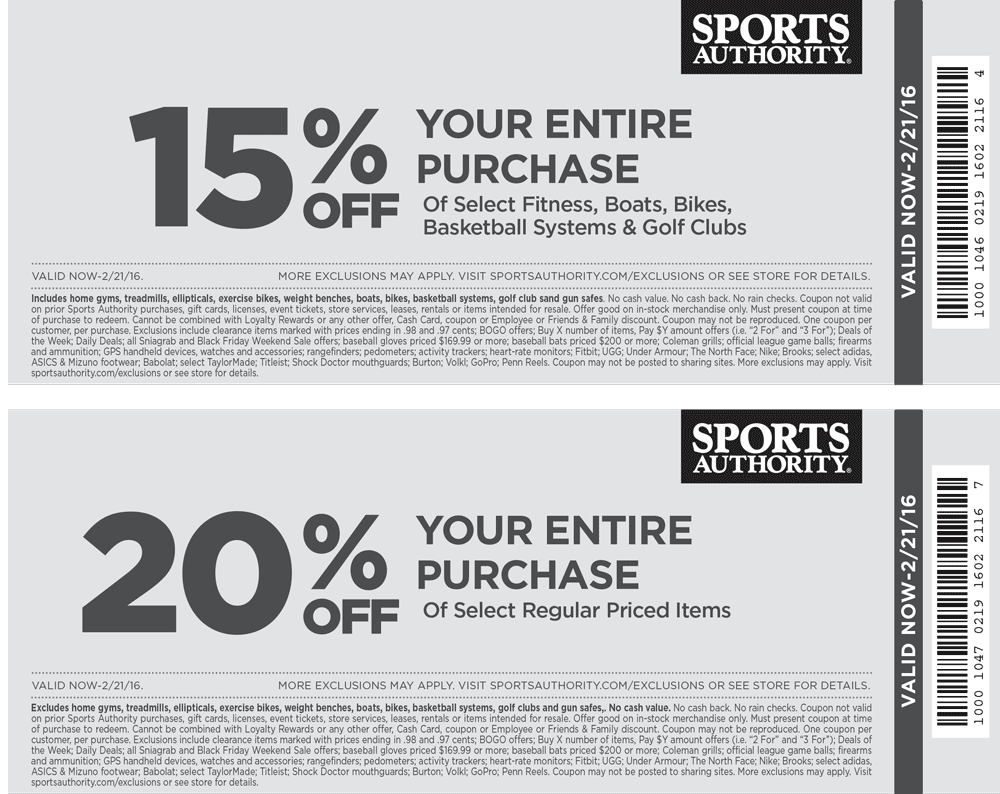 Sports Authority Coupon December 2016 15-20% off at Sports Authority, ditto online