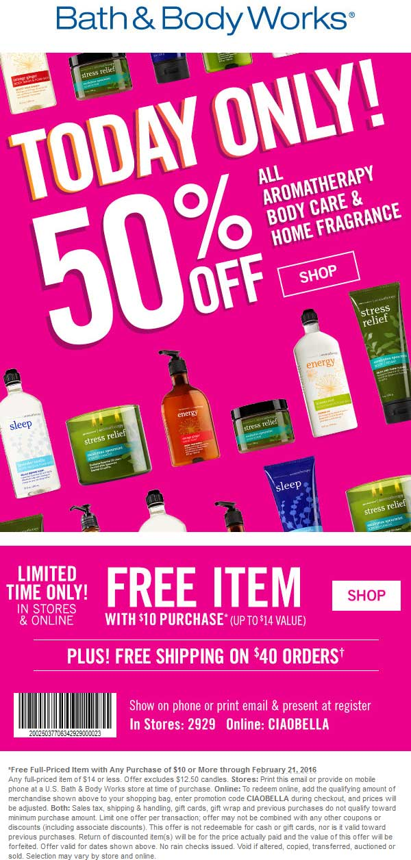 Bath & Body Works Coupon October 2016 $14 item free with $10 spent at Bath & Body Works, or online via promo code CIAOBELLA