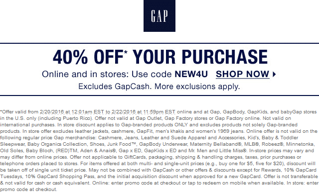 Gap Coupon June 2019 40% off at Gap, or online via promo code NEW4U