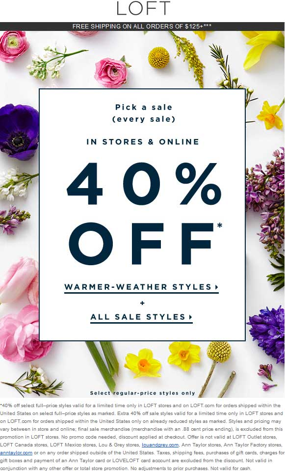 LOFT Coupon September 2018 Extra 40% off sale items at LOFT, ditto online