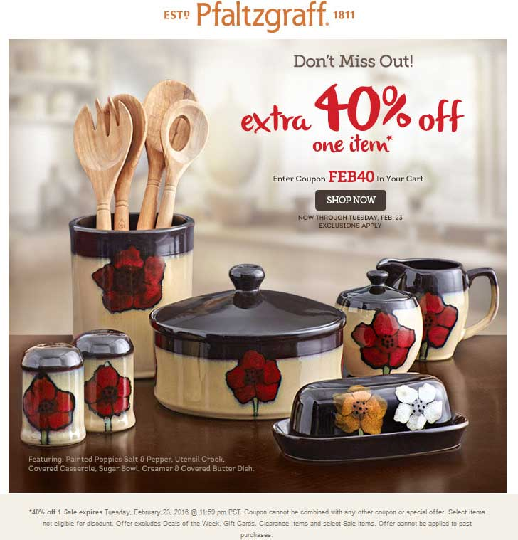Pfaltzgraff Coupon April 2017 40% off a single item online at Pfaltzgraff via promo code FEB40