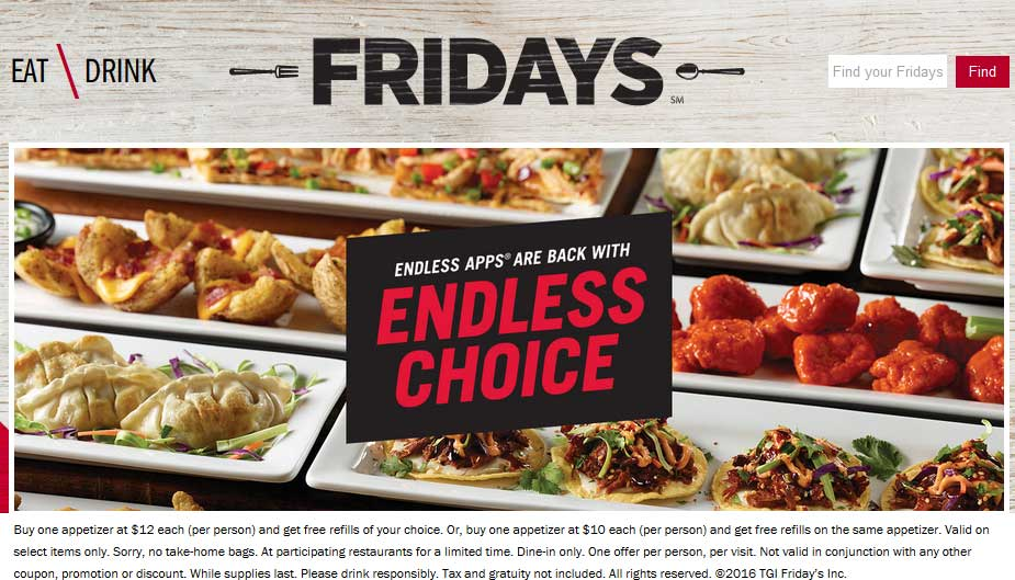 TGI Fridays Coupon November 2017 Bottomless appetizers are back at TGI Fridays