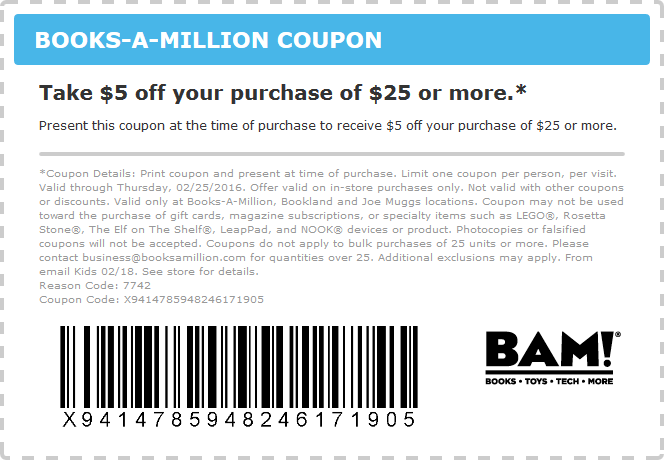 Books-A-Million Coupon February 2017 $5 off $25 at Books-A-Million