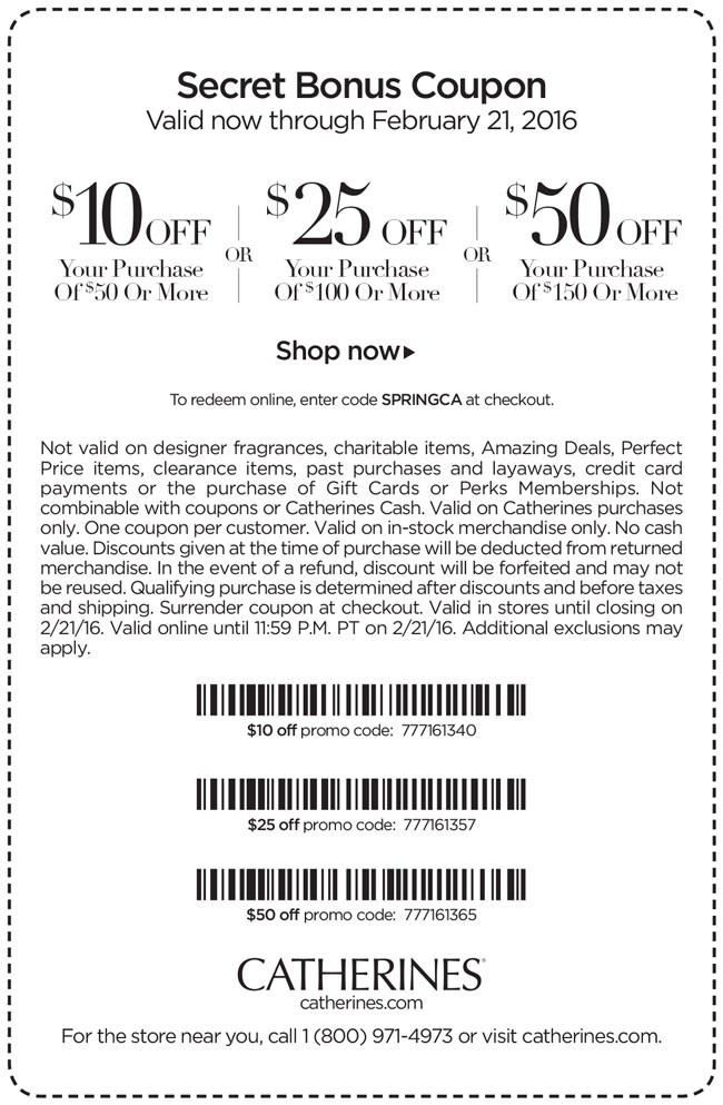 Catherines Coupon July 2018 $10 off $50 & more today at Catherines, or online via promo code SPRINGCA