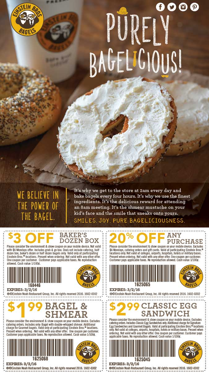 Einstein Bros Bagels Coupon March 2017 20% off & more at Einstein Bros Bagels