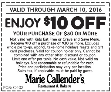 Marie Callenders Coupon December 2018 $10 off $30 at Marie Callenders restaurant
