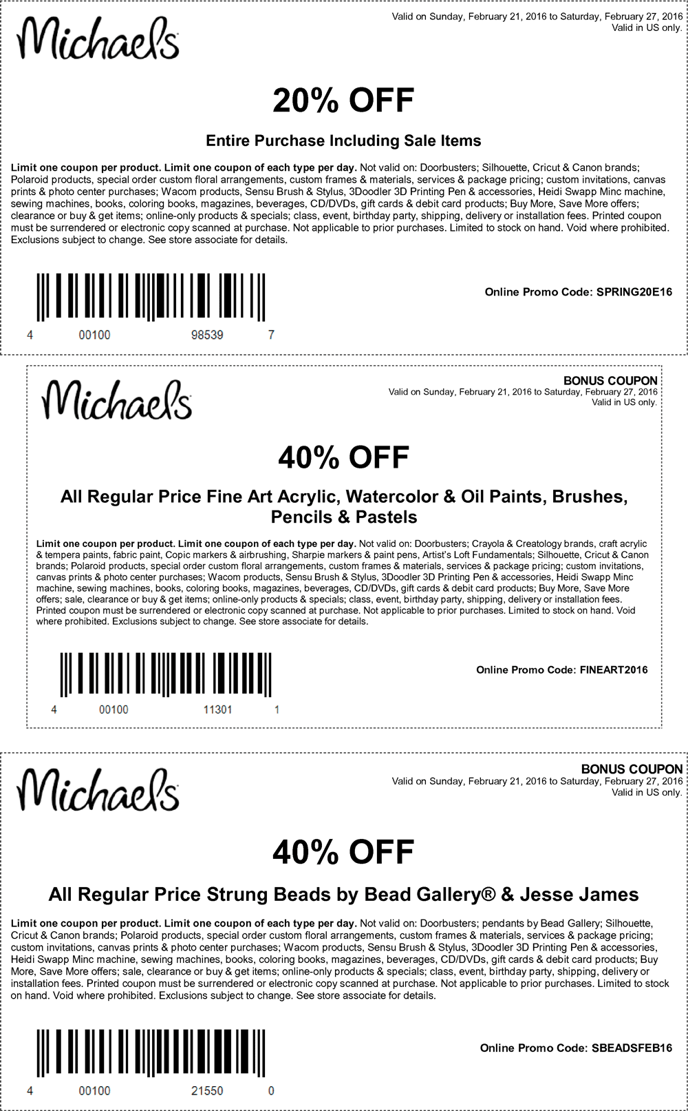 Michaels Coupon September 2018 20% off everything at Michaels, or online via promo code SPRING20E16