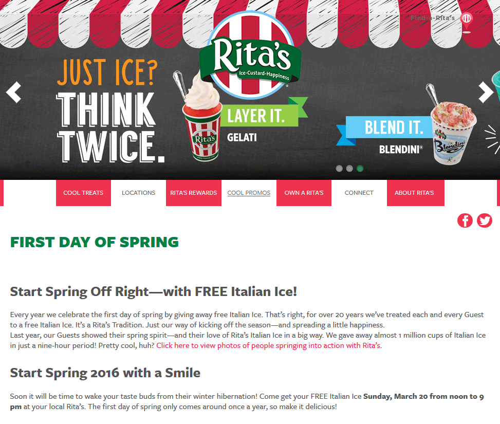 Ritas.com Promo Coupon Free Italian ice the 20th at Ritas
