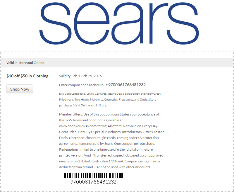 Sears Coupon March 2018 $10 off $50 at Sears, or online via promo code 9700061766481232