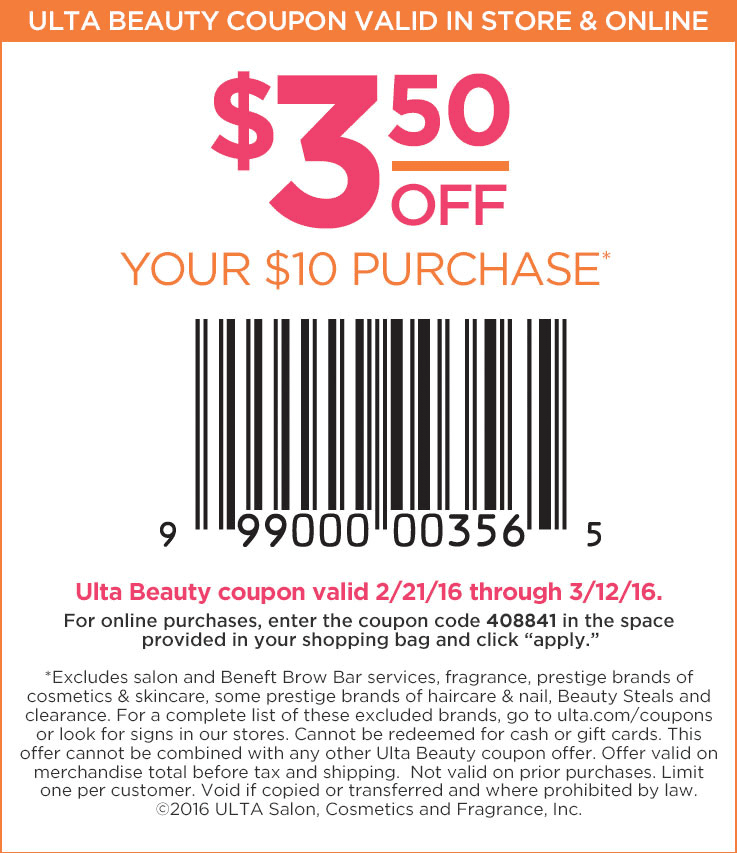 Ulta Coupon May 2017 $3 off $10 at Ulta Beauty, or online via promo code 408841