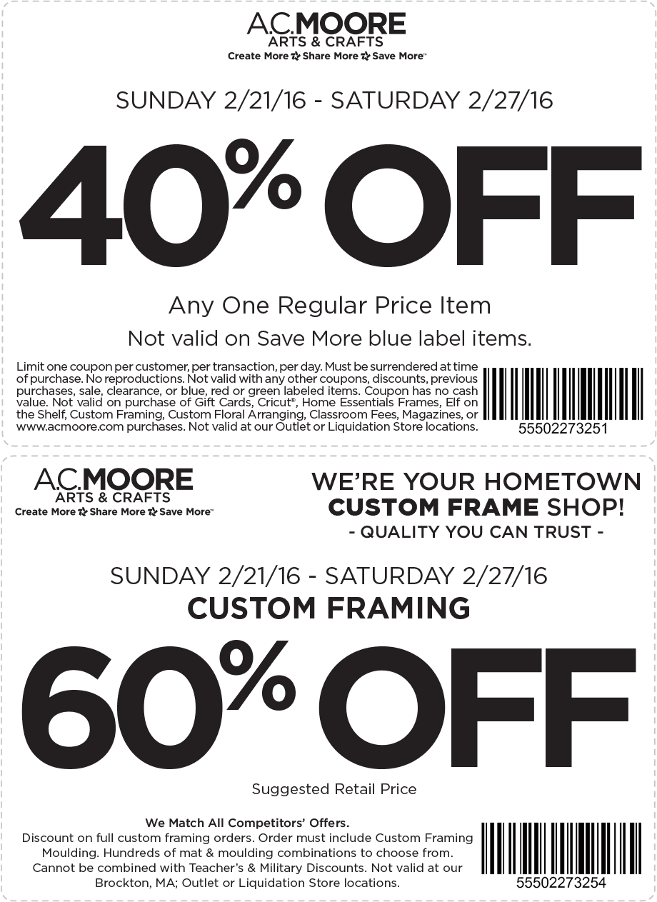 A.C. Moore Coupon April 2019 40% off a single item at A.C. Moore crafts