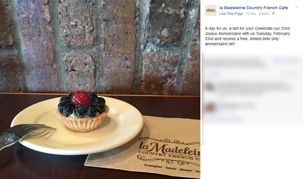 la Madeleine Coupon November 2017 Free tart Tuesday at la Madeleine Country French Cafe