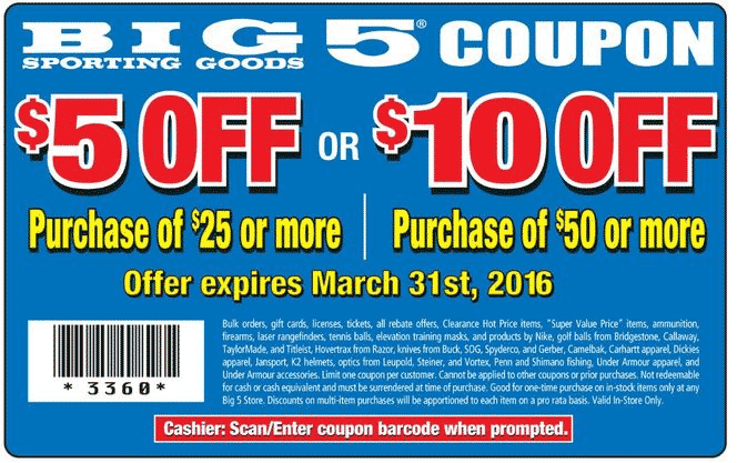 Big 5 Coupon February 2019 $5 off $25 & more at Big 5 sporting goods