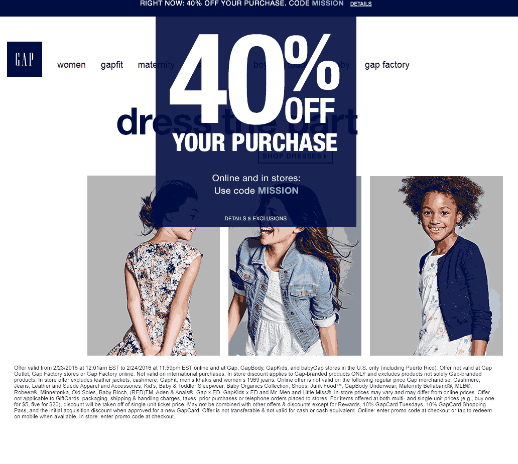 Gap Coupon September 2018 40% off at Gap, GapBody, GapKids, and babyGap, or online via promo code MISSION