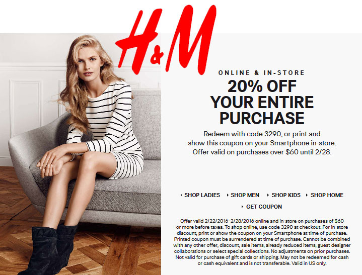 H&M Coupon January 2017 20% off $60 at H&M, or online via promo code 3290