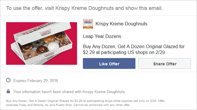 Krispy Kreme Coupon January 2017 Second dozen doughnuts for $2.29 the 29th at Krispy Kreme