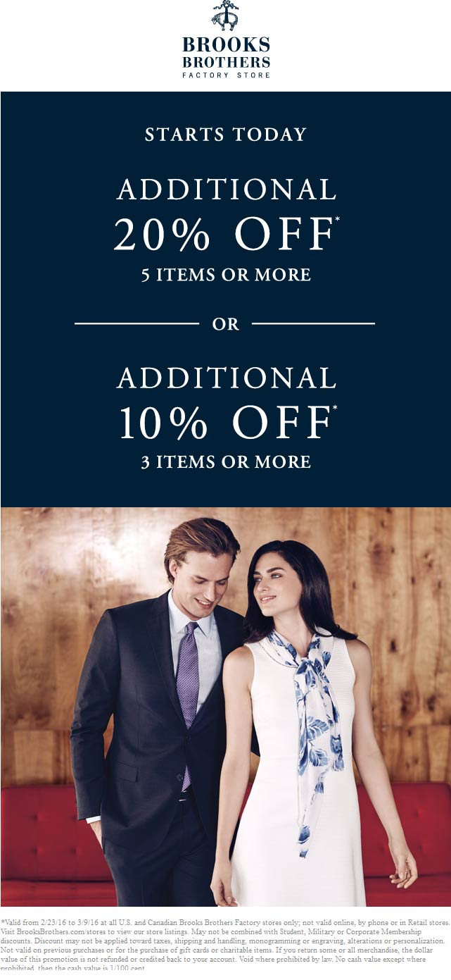 Brooks Brothers Factory Coupon March 2017 Extra 20% off 5+ items at Brooks Brothers Factory stores