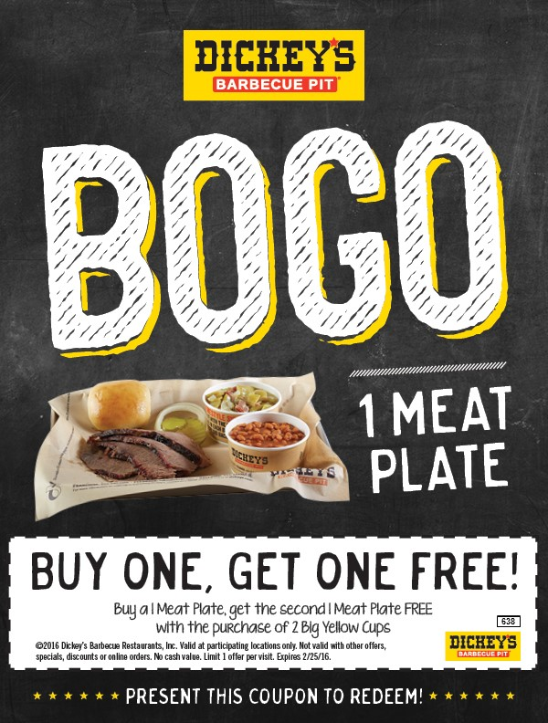 Dickeys Barbecue Pit Coupon September 2017 Second meat plate free at Dickeys Barbecue Pit
