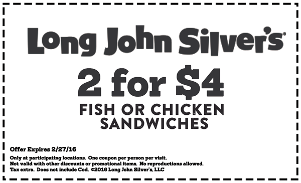 Long John Silvers Coupon February 2017 Two fish or chicken sandwiches for $4 at Long John Silvers