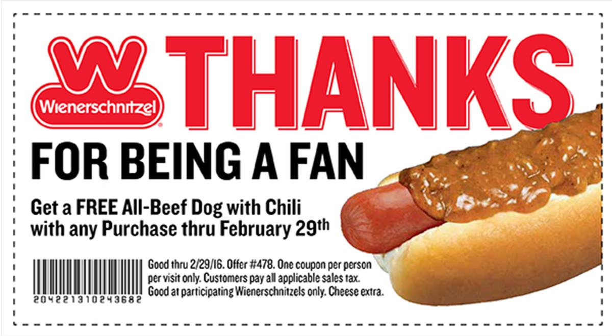 Wienerschnitzel Coupon February 2019 Free chili dog with any order at Wienerschnitzel