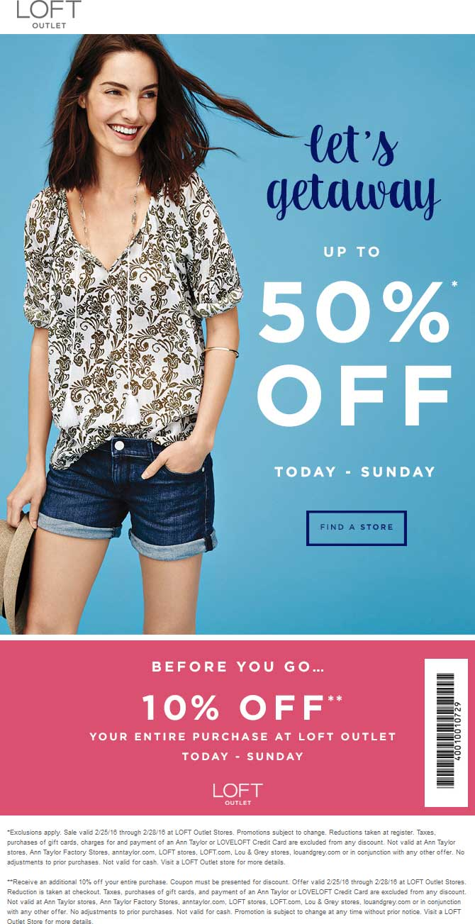 LOFT Outlet Coupon February 2019 10-60% off at LOFT Outlet